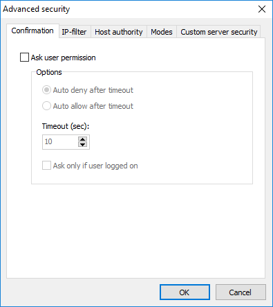 Advanced security - Confirmation tab