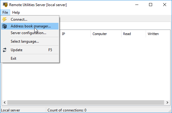 Launching Address Book Manager in Admin Console