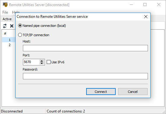 Connecting to service from Admin Console