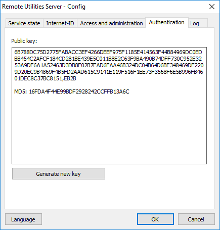 Server configuration - Authentication