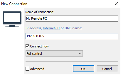 New connection dialog