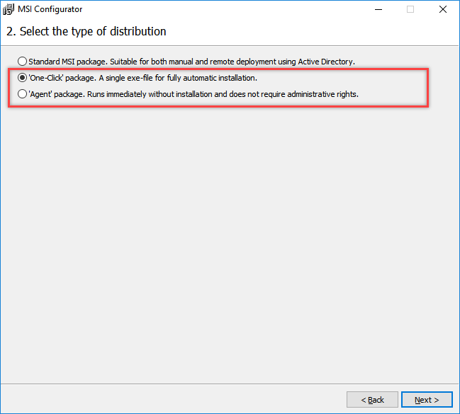 One click installer option in MSI Configurator