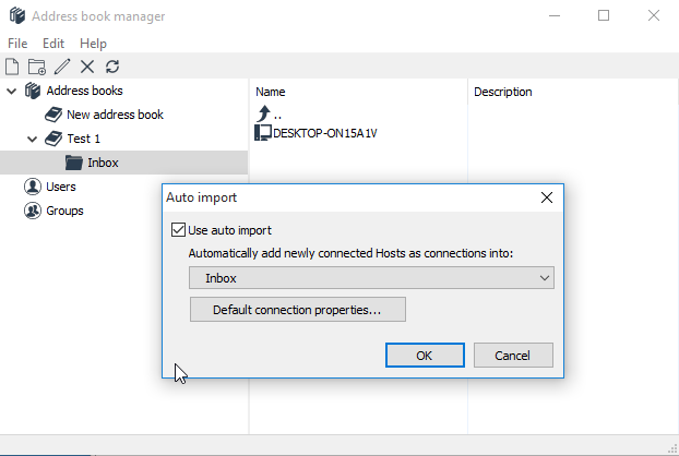 Using auto-import of Hosts into address book