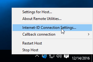 Selecting Internet-ID connection settings