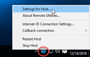 Host icon in the system tray with menu