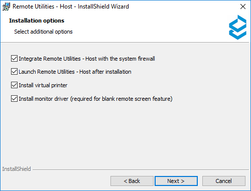 Select installation options